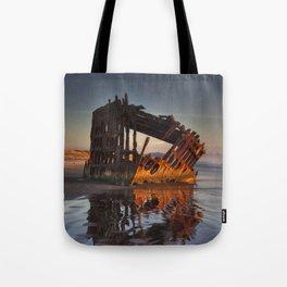 Shipwreck at Sunset Tote Bag