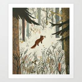 Fox In Snow Art Print