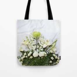 Green and Cream Flowers Tote Bag