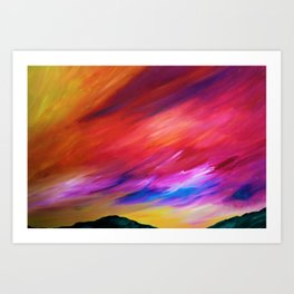 Vibrant Sunset - Abstract Sky Oil Painting Art Print