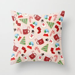 Festive Red Christmas Cookie Illustration Pattern Throw Pillow