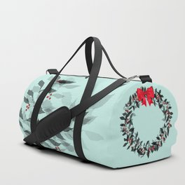 Christmas Wreath with Red Bow #Christmas #holidays Duffle Bag