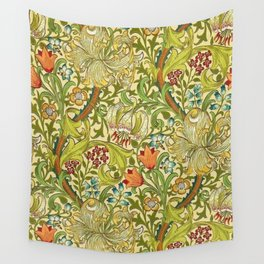 William Morris Calla Lilies, Tulips, Daffodils, & Red Poppies Textile Print Wall Tapestry