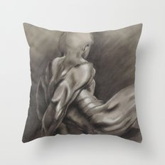 Nude Male Figure Study, Black and White.  Throw Pillow