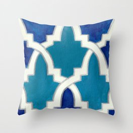 Moroccan Motif Blue Palette Throw Pillow