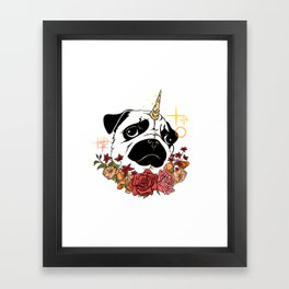 Sparkly Flowers Puggicorn Framed Art Print