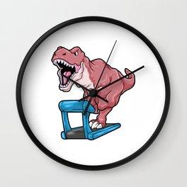 Dinosaur at Jogging on Treadmill Wall Clock