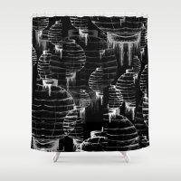 lantern Shower Curtains featuring Lantern - black by Emma Stein
