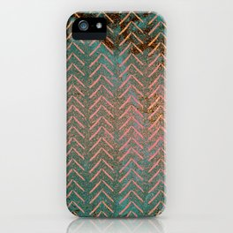Rustic Copper and Teal Marble Chevron iPhone Case