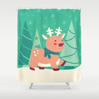 reindeer Shower Curtains featuring Reindeer by Claire Lordon
