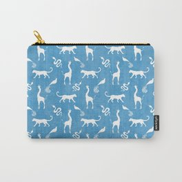 Animal kingdom. White silhouettes of wild animals. African giraffes, leopards, cheetahs. snakes, exotic tropical birds. Tribal primitive ethnic nature blue grunge distressed pattern. Carry-All Pouch