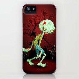 Zombie Creepy Monster Cartoon on Cemetery iPhone Case
