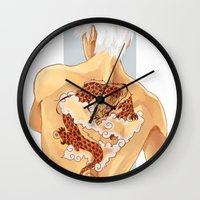 kakashi Wall Clocks featuring Red Dragon by xtcetera