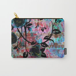 Black Rosevine Watercolor Tribal Carry-All Pouch