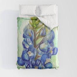 Texas Bluebonnets - Blue and green wildflower art Comforters
