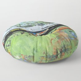 Salvation Green Abstract Contemporary Artwork Painting Floor Pillow