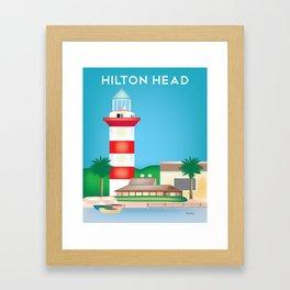 Hilton Head, South Carolina - Skyline Illustration by Loose Petals Framed Art Print