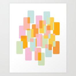 Pastel Geometric Shape Collage Art Print