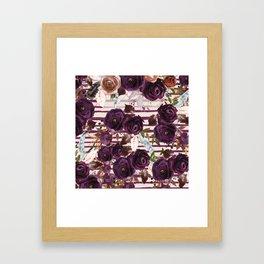 Watercolor ivory purple burgundy brown floral stripes Framed Art Print