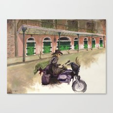 French Quarter Motorcycle Guitarist Canvas Print