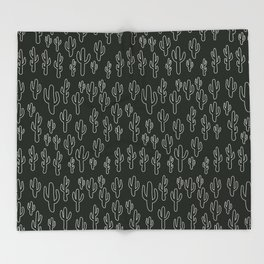Cactus in B&W Throw Blanket