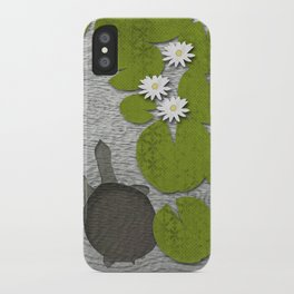 Water lilies with Florida Soft-shell Turtle iPhone Case