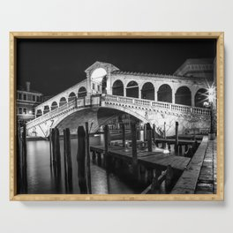VENICE Rialto Bridge at Night | Monochrome Serving Tray