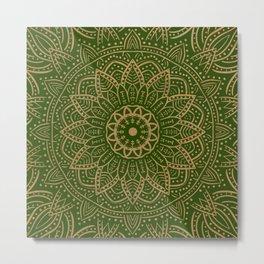 Gold and green mandala Metal Print