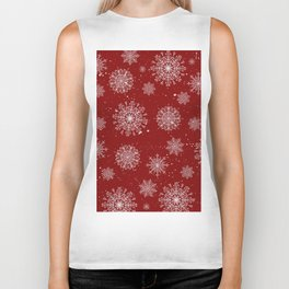 Assorted White Snowflakes On Red Background Biker Tank