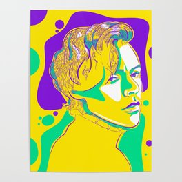 Harry Styles Colourful Lineart Poster