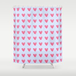 Pink hearts on blue Shower Curtain