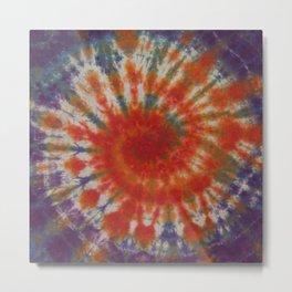 Tie Dye Spiral Galaxy Orange Purple Green Blue Metal Print