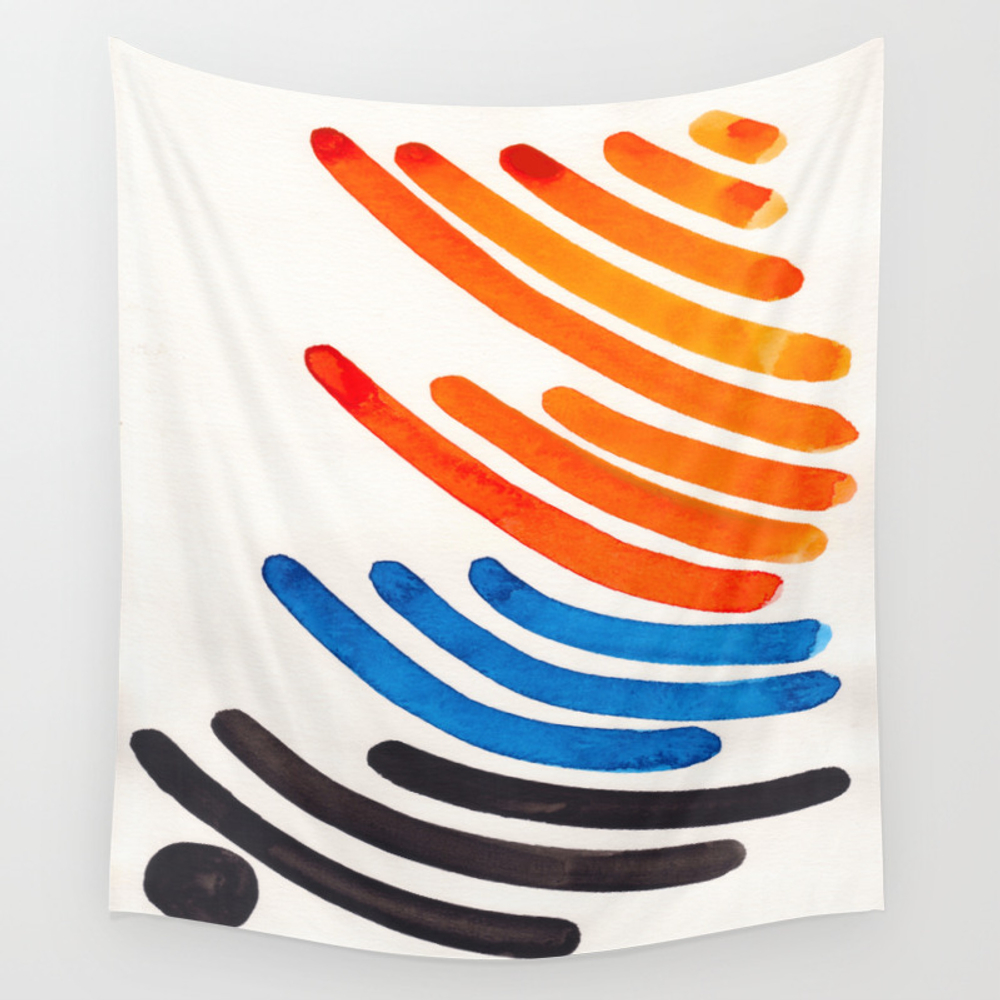 Orange Blue Complementary Colors Watercolor Stripe… Hanging by Enshape TPS7940496