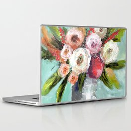 Peach and White Roses Laptop & iPad Skin