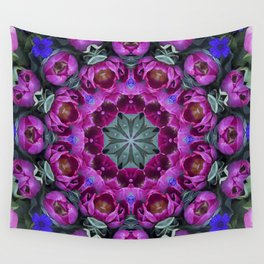 Floral finery - kaleidoscope of blue, plum, rose and green 1650 Wall Tapestry