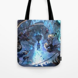 Worlds 2017 Promo Garen Wukong Ashe Ziggs Lee Sin Thresh Wallpaper Background Official Art Artwork Tote Bag