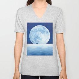 Full moon & paper boat Unisex V-Neck