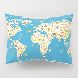 Map of the World with animals. Beautiful colorful vector illustration. Pillow Sham