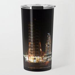 Oil Rig At Sea At Night Travel Mug