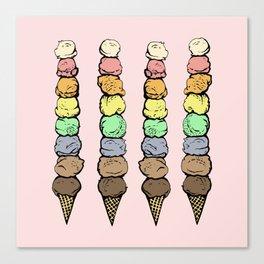 Giant Rainbow Ice Cream Cones Canvas Print