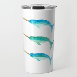 Aqua Narwhals Travel Mug