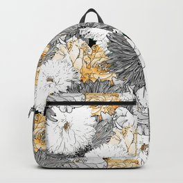 Cute Girly Yellow & Gray Floral Illustration Backpack