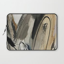 Drift [5]: a neutral abstract mixed media piece in black, white, gray, brown Laptop Sleeve