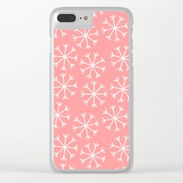 Modern hand painted coral white Christmas snow flakes Clear iPhone Case