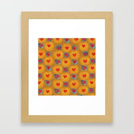 Heart_Coeur orange pattern Framed Art Print