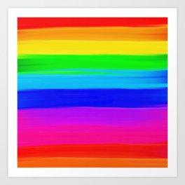Modern rainbow brushstrokes paint striped pattern Art Print