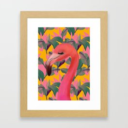 Flamingo with retro Luxe Lilies Framed Art Print