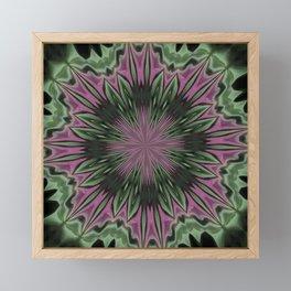 Rose and Jade Floral Fantasy Mandala Pattern Framed Mini Art Print