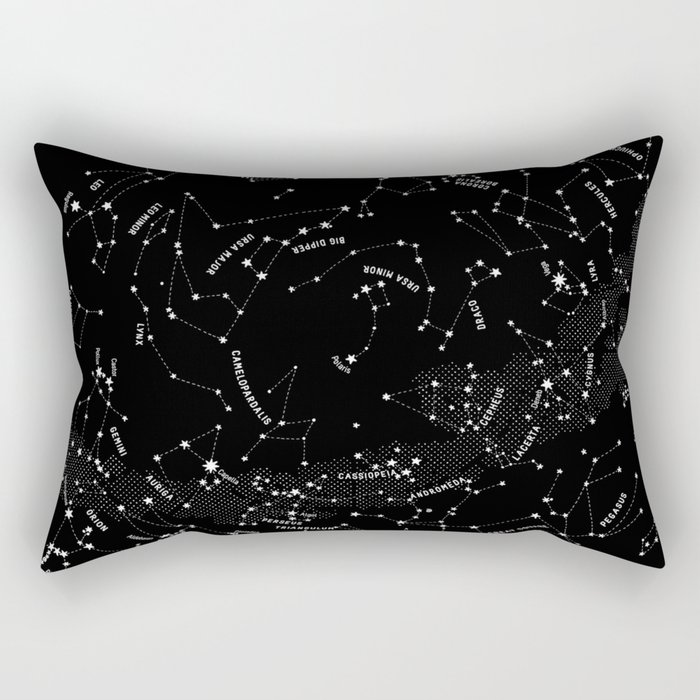 Constellation Map - Black Rectangular Pillow