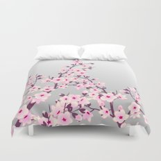 Cherry Blossoms Pink Gray Duvet Cover